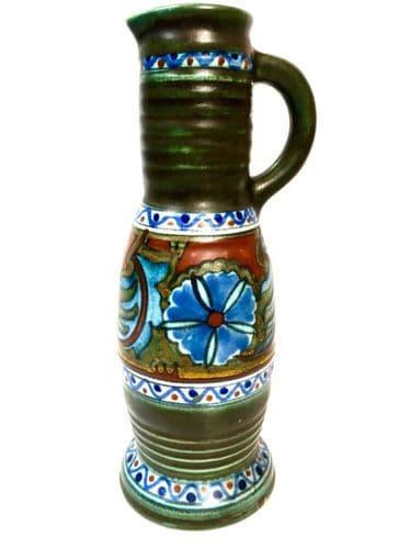 Antique Gouda Pottery Art Deco Dutch Large Vase / Jug / Green & Blue / Orange